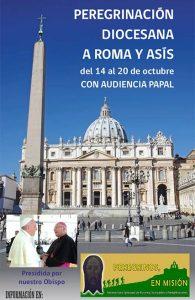 cartel con el vaticano de fondo y el obispo de jaen saludando al papa francisco